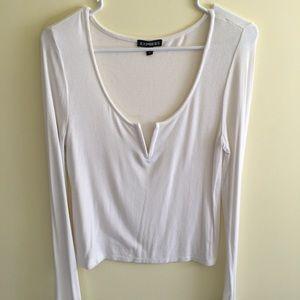 Long sleeve deep V-neck